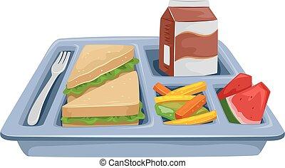 repas, régime, plateau, déjeuner