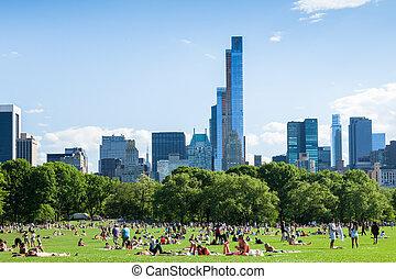 reposer, central, usa, gens, -, parc, york, nouveau