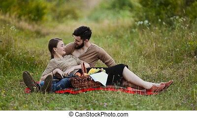 reposer, couple, jeune