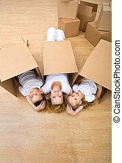reposer, famille, plancher, leur, nouvelle maison