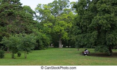 reposer, gens, parc public