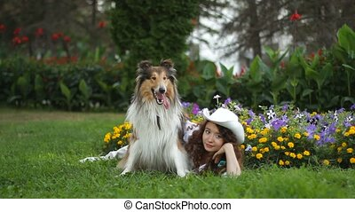 reposer, girl, parc, chien, clairière