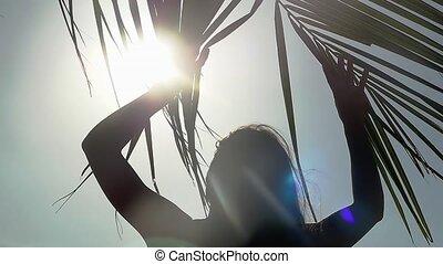 reposer, lent, branche, soleil, motion., arbre, lentille, par, effets, mer, flamme, paume, shines, plage, girl, 1920x1080, va