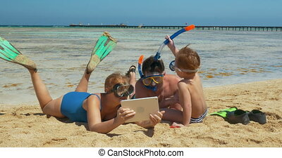 reposer, plage, famille