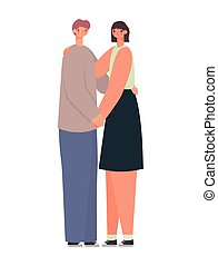 représentation, couple étreindre