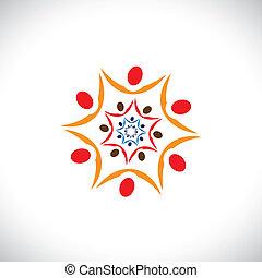 représente, bon, coloré, gens, commun, résumé, paix, collaborer, illustration, société, graphique, connecté, ensemble., équipe, communautés, universel, harmonie