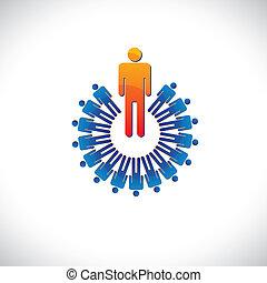 représente, graphique, aimer, coloré, aussi, résumé, illustration, employeur, etc, directeur, followers., employé, concepts, éditorial, ouvrier