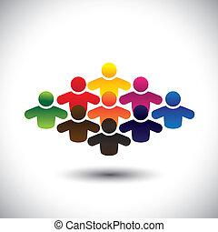 représente, graphique, concept, groupe, coloré, gens, étudiants, former, résumé, icônes, -, communauté, ou, aussi, couleurs, ouvriers, divers, vector., employés, enfants, cadres