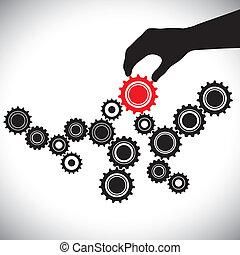 représente, graphique, contrôlé, person(leader), &, importance, lisser, illustration, ceci, vecteur, rouge noir, clã©, équipe, équilibre, blanc, fonctionnement, roues dentées, hand(person)., engrenage