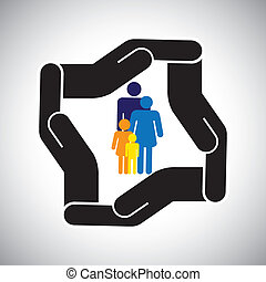 représente, graphique, gosses, famille, accident, protection, etc, aussi, concept, sécurité, père, vector., mère, assurance maladie, ou