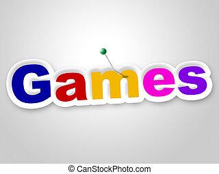 représente, jeu, signe, jeux, temps, amusement