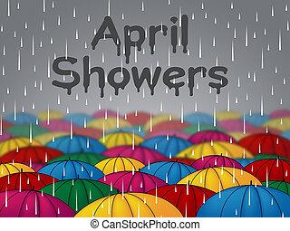 représente, saison, ombrelles, avril, douches, parapluies