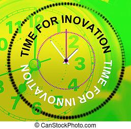 représente, temps, innovation, concepts, inventions, pensées