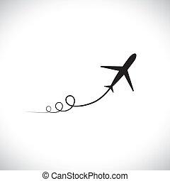 représenter, élevé, avion, vitesse, sien, haut., silhouette, jet, &, ciel, aussi, prendre, expédier, symbole, projection, illustration, sentier, icône, graphique, fermé, ceci, zoom, boîte, militaire