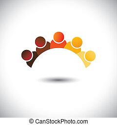 représenter, bureau, graphic., enfants, personnel, réunions, groupe, &, employé, sign(icon)-, résumé, coloré, discussion, illustration, interaction, écoles, gosses, ceci, employés, vecteur, boîte, ou