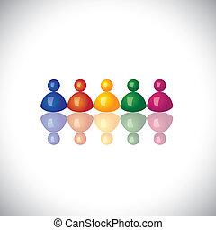 représenter, bureau, graphic., signes, ensemble, personnel, réunions, groupe, icônes, -, équipe, vecteur, employé, 3d, diversité, coloré, compagnie, illustration, unité, gosses, ceci, employés, &, etc, communauté, boîte, ou