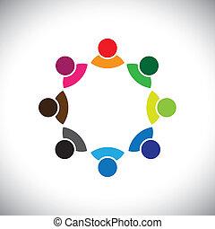 représenter, concept, cadre, enfants, groupe, aussi, employé, réunion, boîte, group., coloré, discussion, graphique, ceci, ensemble, jouer, etc, vecteur, multi-ethnique, équipe, constitué, ou