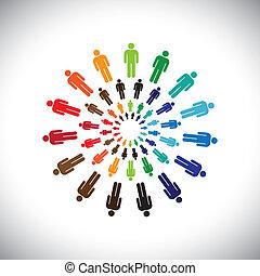 représenter, concept, gens, global, collaborer, dialoguer, &, aussi, autre, multi-ethnique, coloré, social, communautés, circles., graphique, ceci, équipes, vecteur, boîte, chaque, rencontrer, ou