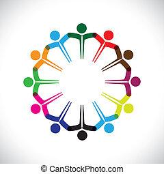 représenter, concept, gens, graphic-, collaboration, ensemble., enfants, &, aussi, unité, employé, réseau, jouer, diversité, illustration, réunion, mains, gosses, ceci, icônes, etc, vecteur, boîte, ou
