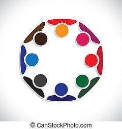 représenter, concept, gens, graphic., interaction-, ouvriers, aussi, employé, cercles, diversité, coloré, illustration, unité, réunion, gosses, ceci, ensemble, jouer, etc, vecteur, boîte, ou
