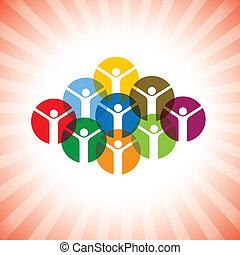 représenter, concept, heureux, gens, graphic., communauté, espiègle, célébrer, membres, enfants, unité, aussi, employé, excité, reussite, illustration, joyeux, inspiré, celebrating-, vecteur, boîte, ou