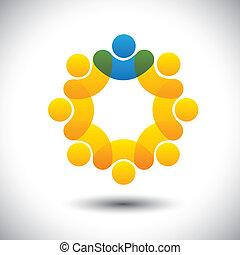 représenter, concept, surveillant, résumé, communauté, directeur, &, -, aussi, vector., cercle, éditorial, membres, éditorial, icône, graphique, personnel, ceci, employés, icônes, direction, etc, boîte, équipe
