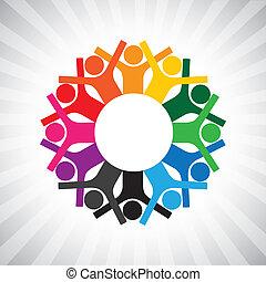 représenter, diversité, simple, graphic., enfants, personnel, uni, aussi, tenue, employé, cercle, heureux, collaborative, illustration, réunion, hands-, ouvriers, ceci, ou, etc, vecteur, boîte, jouer, cadres