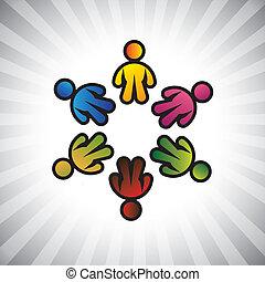 représenter, &, enfants, graphic-, circle., concept, partage, communauté, concepts, gosses, vecteur, jouer, employé, aimer, coloré, unions, illustration, icons(symbols), amitié, etc, aussi, ou, boîte