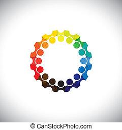 représenter, gens, communauté, réunions, réseau, média, -, jardin enfants, aussi, vector., employé, cercle, coloré, jouer, illustration, gosses, école, graphique, étudiants, ceci, etc, boîte, social