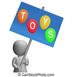 représenter, gosses, signe, jouets enfants, jouets