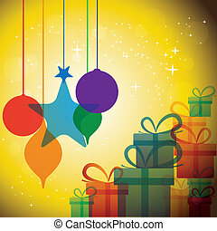 représenter, noël, concept, célébrations, festivals, &, -, vector., x-mas, nouveau, noël, fête, année, boîtes, anniversaire, mariage, evénements, babioles, graphique, aimer, cadeau, etc, boîte, ou
