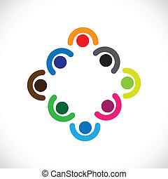 représenter, ou, gosses, diversité, &, graphic., gens, blottir, illustration, meeting-vector, unité, ensemble, réunion, équipe, cadres, employés, jouer, constitué, enfants, boîte