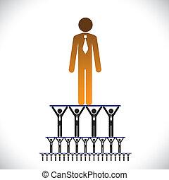 représenter, structure-, concept, hiérarchie, aussi, ceci, graphic., cadre, ouvrier, illustration, etc, vecteur, niveaux, boîte, gestion, constitué, compagnie, organisation