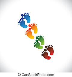 représenter, toddler's, école, bébé, graphic., bébé, crèche, &, -, jardin enfants, jeu, coloré, pré-école, illustration, tout petits enfants, étape, soin pied, paires, gosses, ceci, centres, etc, vecteur, boîte, ou