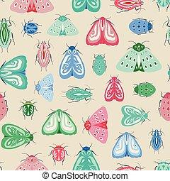 reprise, coléoptères, insectes, pattern., seamless, bugs., papillons, vecteur, conception, coloré