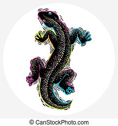 reptile, graphique, illustration, species., sommet, nature, silhouette, pluie, symbole., lézard, vecteur, forêt, dessiné, zoologie, vie sauvage, faune, vue