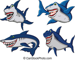 requin, dessin animé, collection