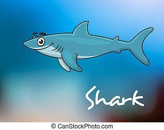 requin, dessin animé, mer