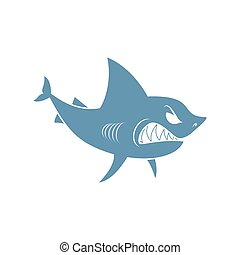 requin, isolated., prédateur, fond, blanc, marin
