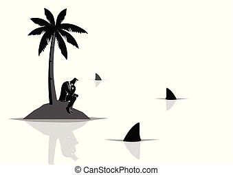 requins, entiers, obtenir, île, eau, collé, homme affaires