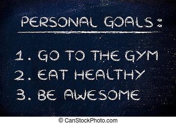 resolutions:, fitness, gymnase, nouvelle année