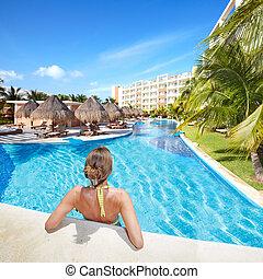 resort., femme, antilles, piscine, natation