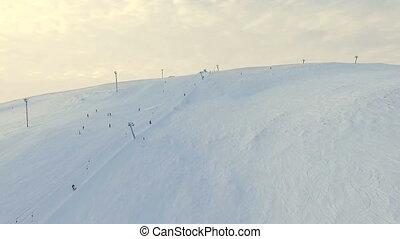resort., sommet, vol, ski