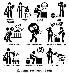 responsabilité, pictogra, compagnie, business