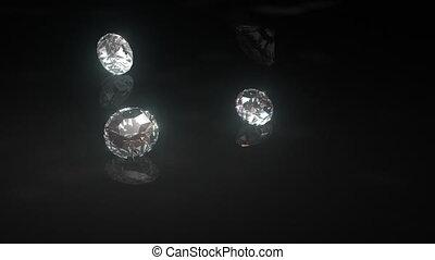 ressac, brillant, goutte, noir, diamants, sur