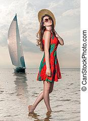ressac, navigation yacht, contre, pavot, girl, robe, apprécie, toile de fond