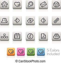 ressac, -outline, filet, boutons, icônes
