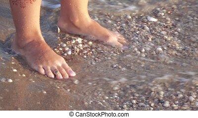 ressac, pieds, mer