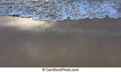 ressac, soir, plage, vagues