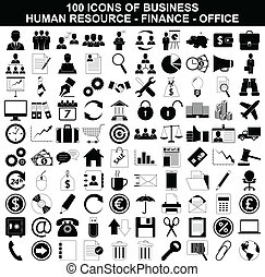 ressource, ensemble, finance, icônes bureau, business, humain